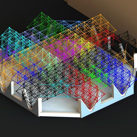 Modélisation d'une structure tri-dimensionnelle – toiture d'un centre commercial
