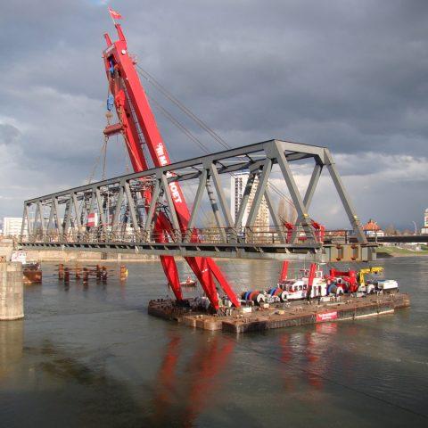 Etudes de démantèlement d'un pont ferroviaire sur le Rhin