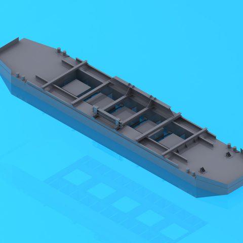 Etude de flottabilité d'une barge pour gravière