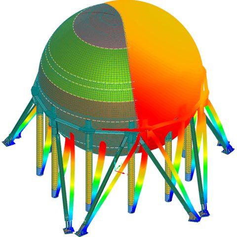 Dimensionnement aux élément finis d'une sphère de stockage de butadiène (2400m³) et structure support sommitale